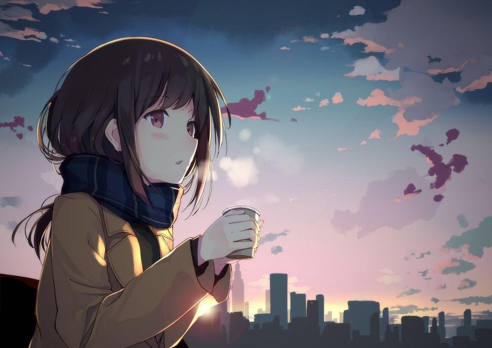 Konachan com - 239587 blush brown eyes brown hair building city clouds drink long hair original scarf sky sutorora wallpaper