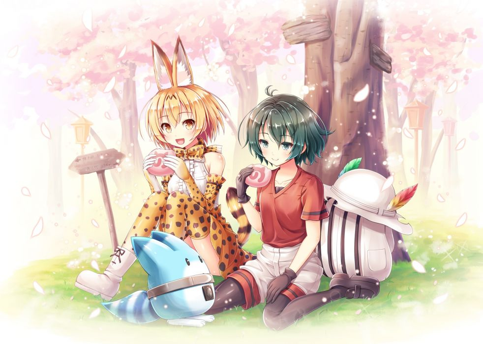 Konachan com - 239556 2girls akashio blonde hair boots bow catgirl food gloves grass green hair hat kaban pantyhose petals serval short hair tail thighhighs yellow eyes wallpaper