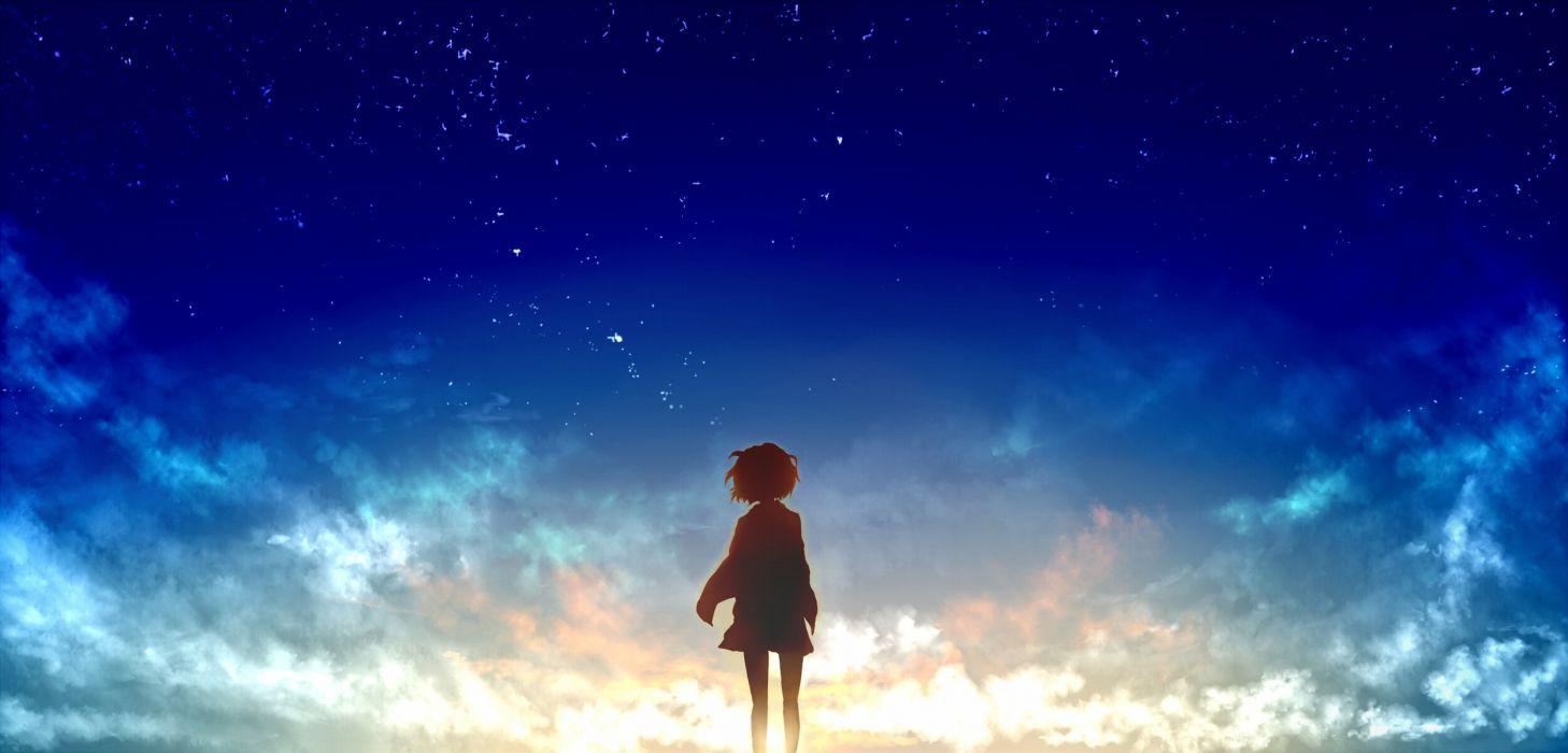 Konachan com - 239624 clouds kuriyama mirai kyoukai no kanata silhouette sky stars tagme (artist) waifu2x wallpaper