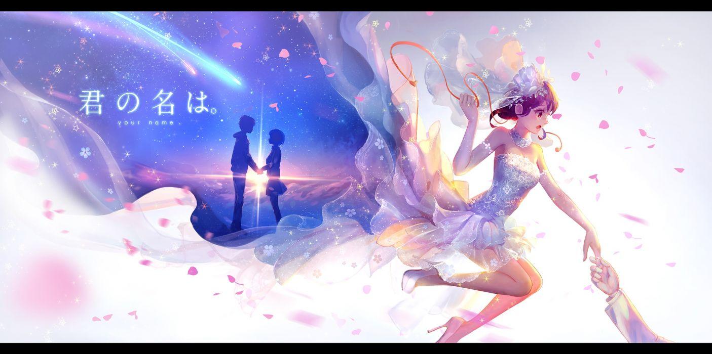 Konachan com - 239609 brown eyes dress elbow gloves gloves kimi no na wa male miyamizu mitsuha pcw petals ribbons short hair silhouette stars tachibana taki wedding wallpaper