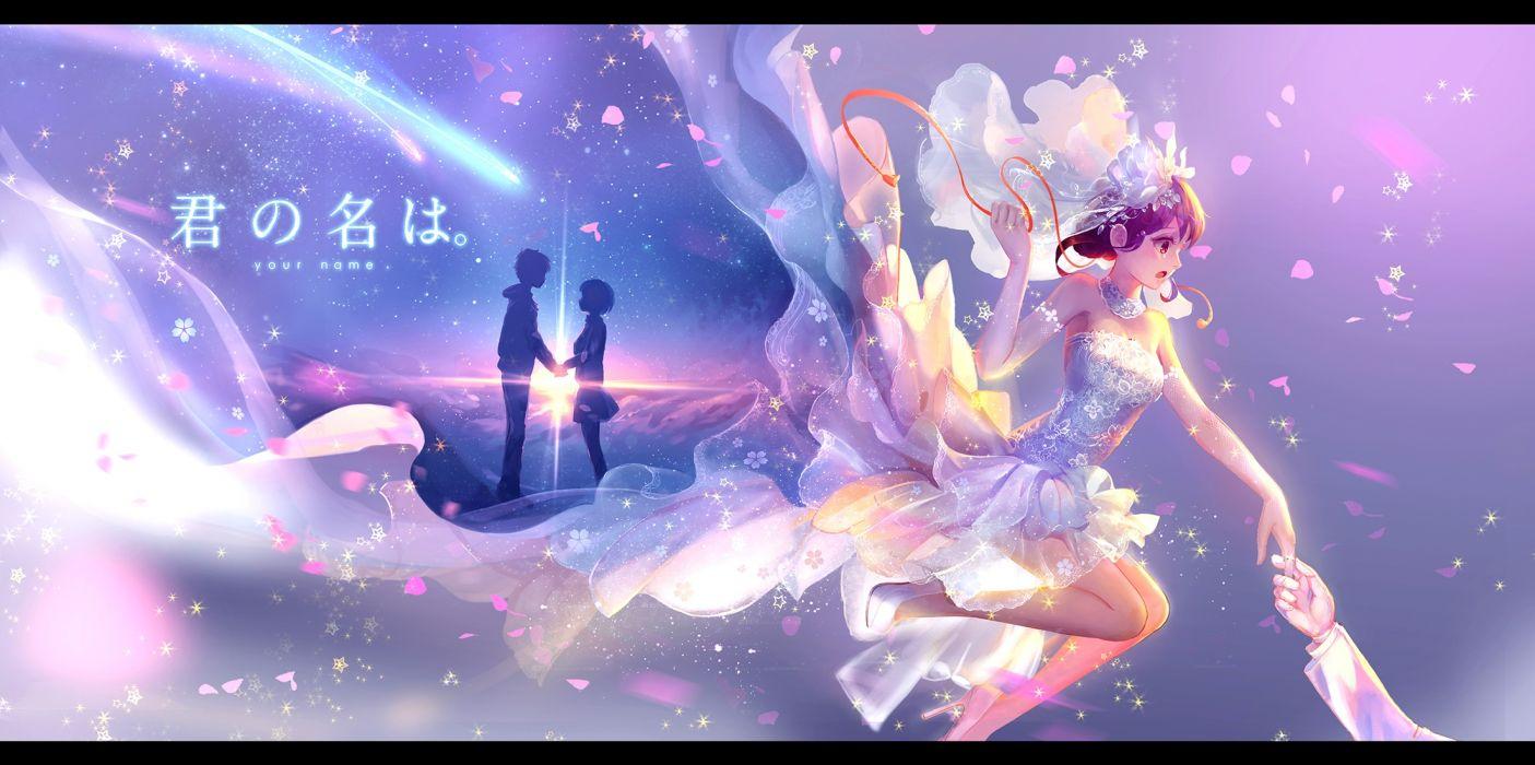 Konachan com - 239610 brown eyes dress elbow gloves gloves kimi no na wa male miyamizu mitsuha pcw petals ribbons short hair silhouette stars tachibana taki wedding wallpaper