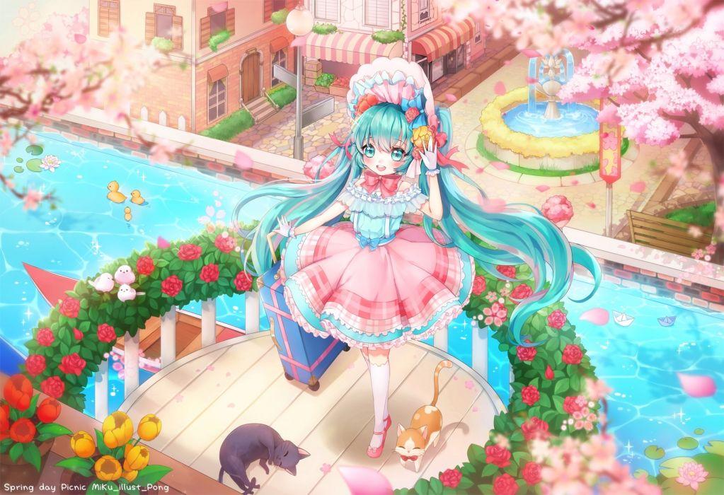 Konachan com - 239644 animal aqua eyes aqua hair cat cherry blossoms flowers hatsune miku lolita fashion long hair tagme (artist) twintails vocaloid water watermark wallpaper