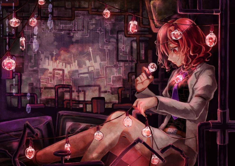 Konachan com - 239235 horikawa raiko red eyes red hair shometsu-kei no teruru skirt tie touhou wallpaper