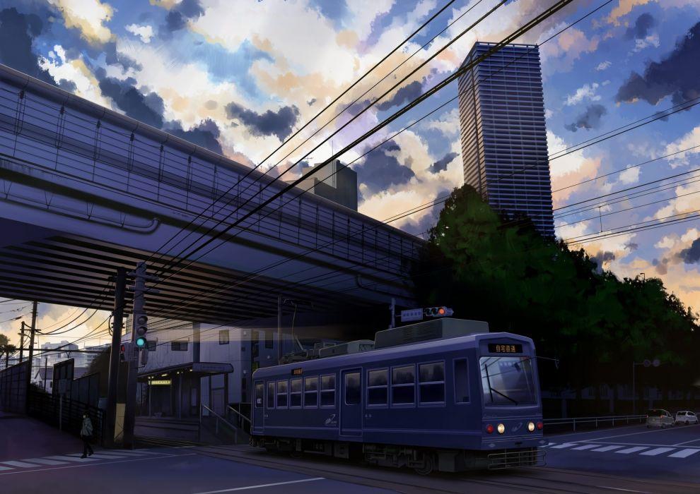 Konachan com - 239306 building car city clouds gensuke original scenic sky train translation request tree wallpaper