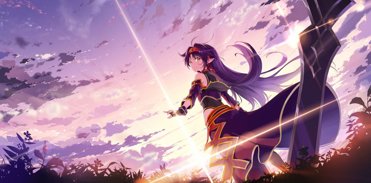Konachan com - 239259 aliasing clouds gloves headband konno yuuki kyokucho long hair orange eyes pointed ears purple hair sky sunset sword sword art online weapon wallpaper