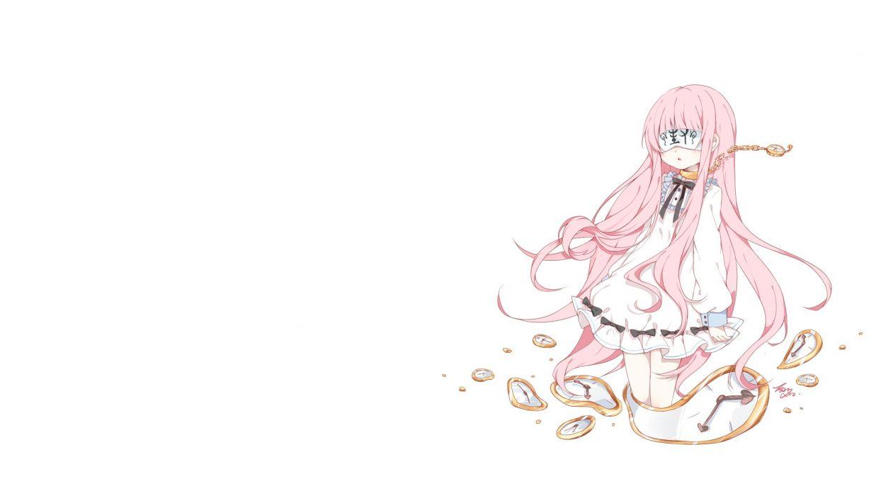 Konachan com - 239324 blindfold chain collar dress loli lolita fashion long hair original photoshop pink hair signed tagme (artist) white wallpaper