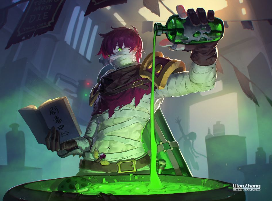 Konachan com - 239322 bandage book daye bie qia lian gloves green eyes league of legends magic male navel red hair short hair silhouette translation request wallpaper