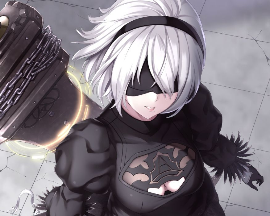 Konachan com - 239390 blindfold breasts cleavage cropped gloves headband nier nier automata short hair sword waifu2x weapon white hair yukikaze (aaassszzz) wallpaper