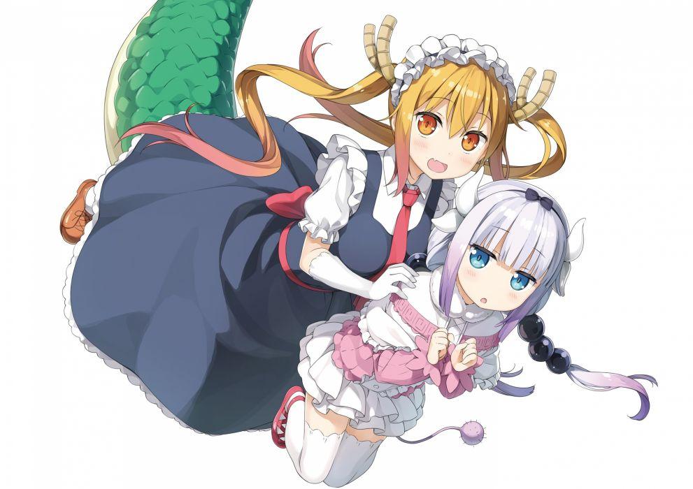 Konachan com - 239385 kamui kanna kantoku kobayashi-san chi no maid dragon loli photoshop tooru (maidragon) white wallpaper