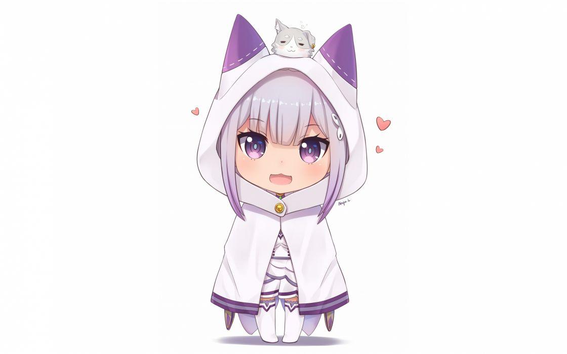 Konachan com - 239389 cape cat smile chibi dress emilia gray hair neps l puck purple eyes re zero kara hajimeru isekai seikatsu signed thighhighs wallpaper