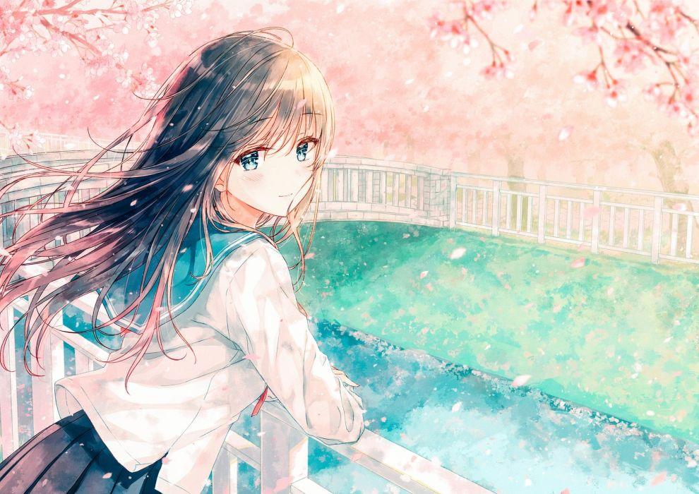 Konachan com - 239427 aqua eyes black hair blush cherry blossoms hiten goane ryu long hair original petals seifuku skirt water wallpaper