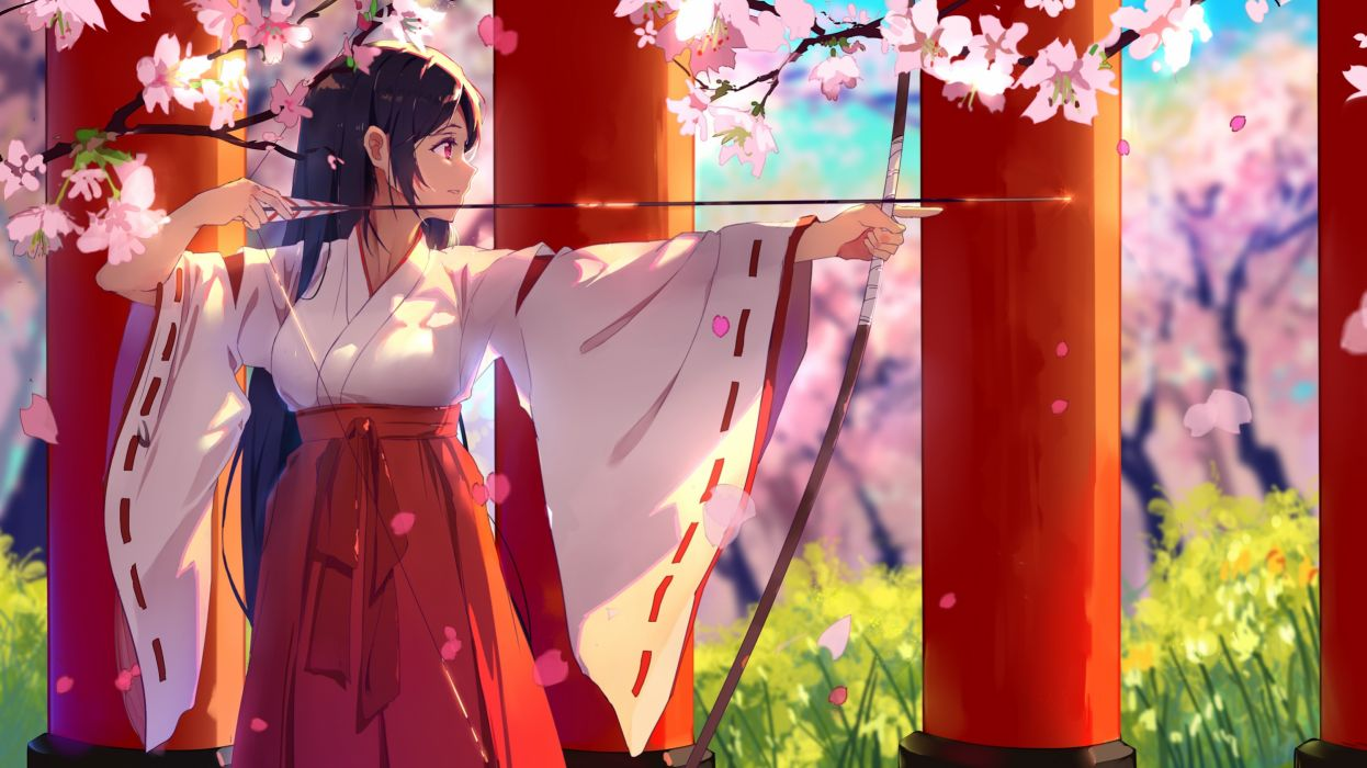 Konachan com - 239426 black hair bow (weapon) cherry blossoms haraguroi you japanese clothes long hair miko original petals pink eyes weapon wallpaper