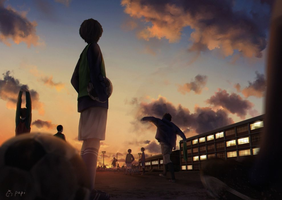 Konachan com - 238956 ball building clouds group male original papi (papiron100) realistic short hair shorts signed sky soccer socks sport sunset wallpaper