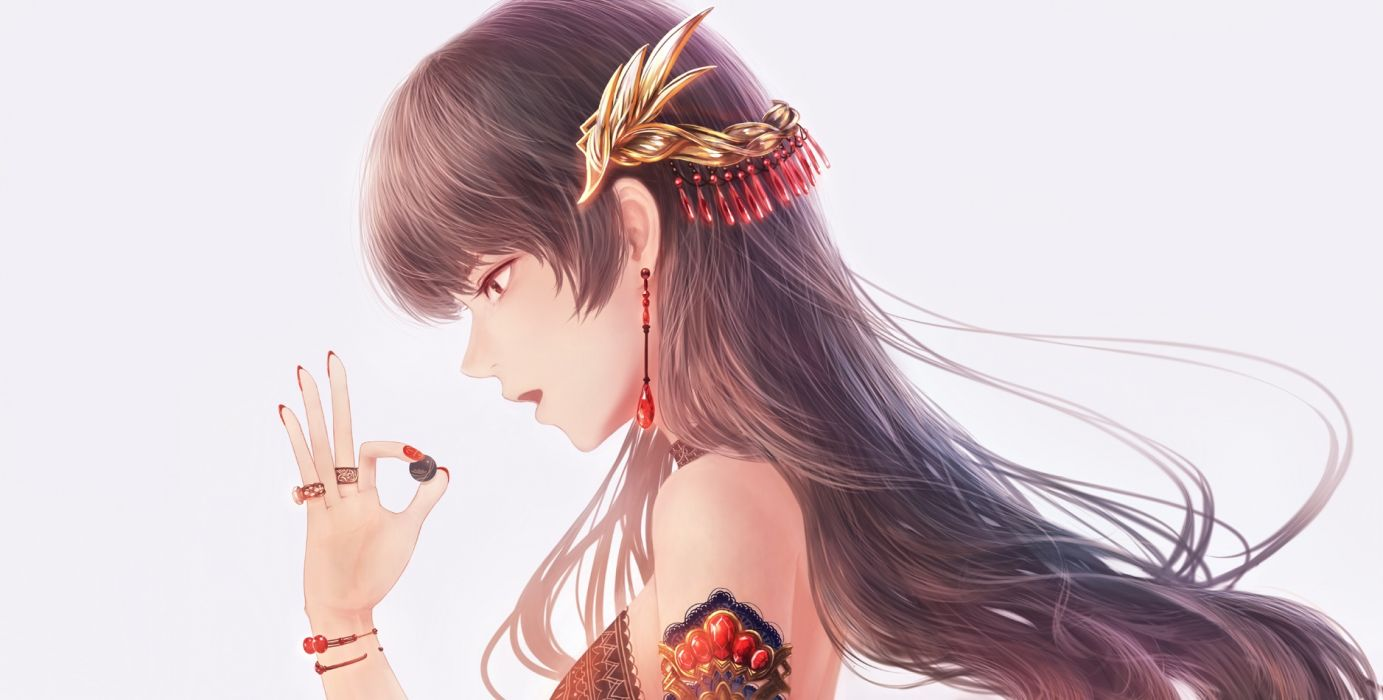 Konachan com - 239017 bou nin brown eyes brown hair long hair original white wallpaper