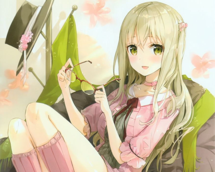 Konachan com - 239025 blonde hair cropped dress glasses green eyes green hair kyouya kakehi long hair original wallpaper