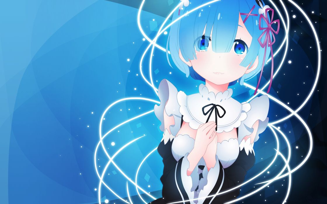 Konachan com - 239022 aqua eyes aqua hair breasts dress maid rem (re zero) re zero kara hajimeru isekai seikatsu ribbons short hair vector wallpaper