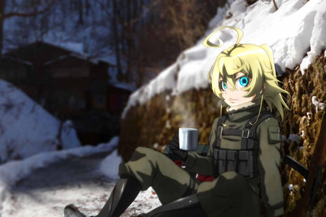 Konachan com - 239042 aqua eyes blonde hair boots drink genya67 gloves military short hair tanya degurechaff weapon youjo senki wallpaper