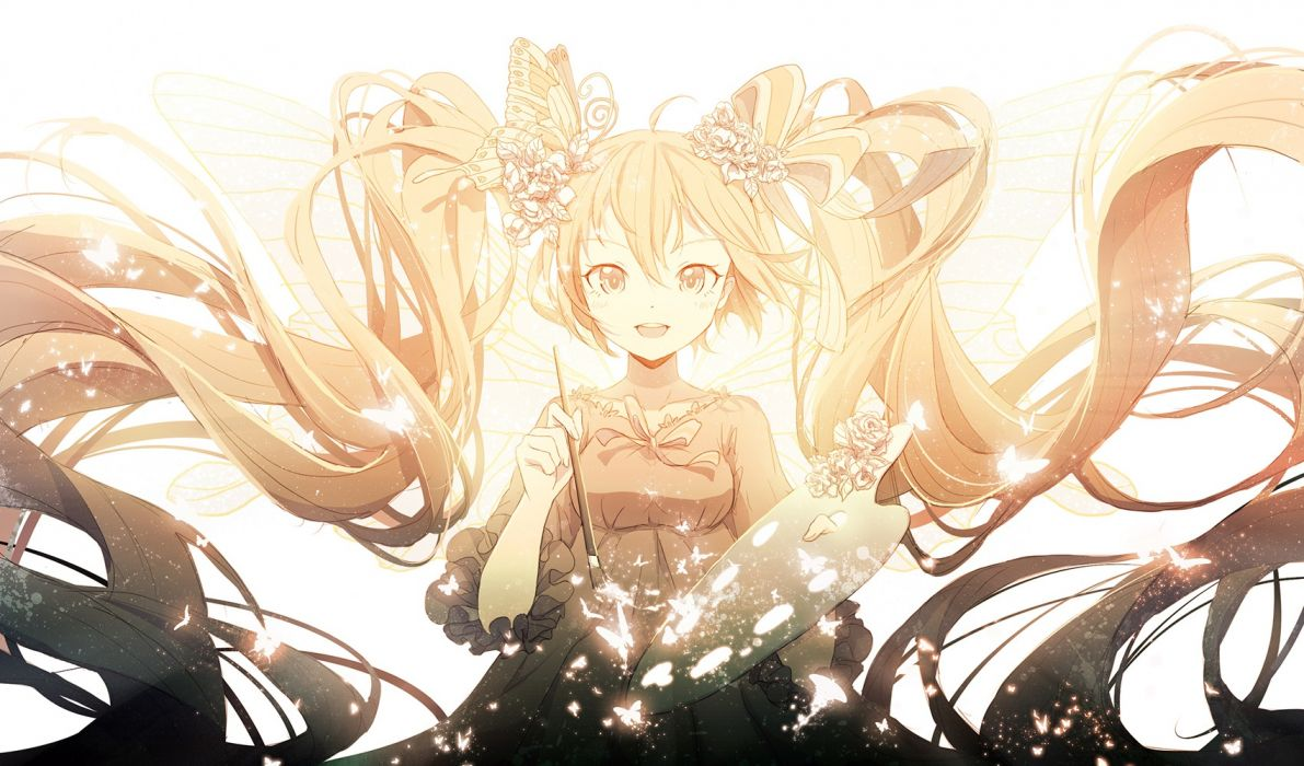 Konachan com - 239044 butterfly dress hatsune miku hiyasemi enos long hair polychromatic twintails vocaloid wallpaper