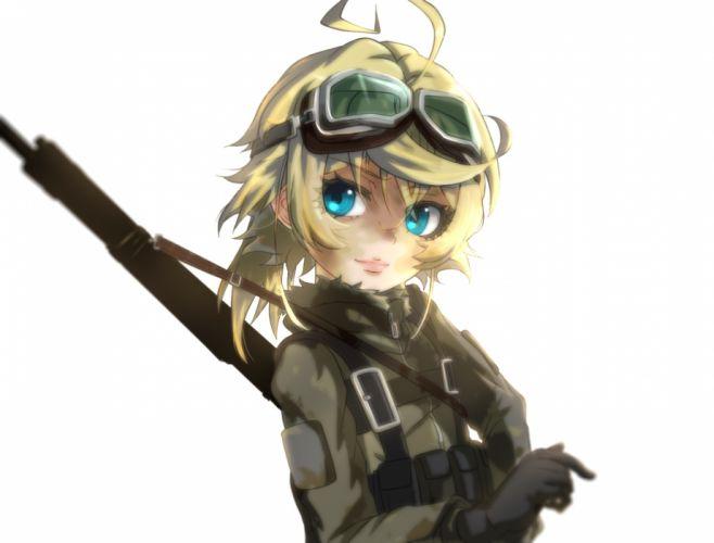 Konachan com - 239071 aqua eyes blonde hair genya67 goggles short hair tanya degurechaff weapon white youjo senki wallpaper