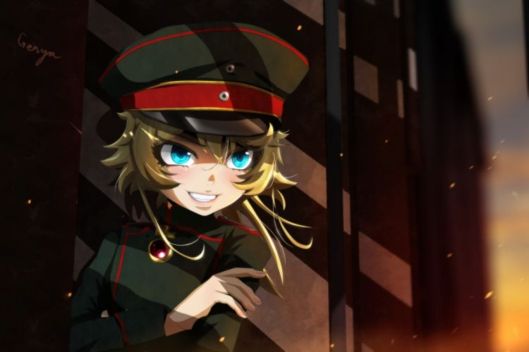 Konachan com - 239070 aqua eyes blonde hair genya67 hat military short hair tanya degurechaff uniform youjo senki wallpaper