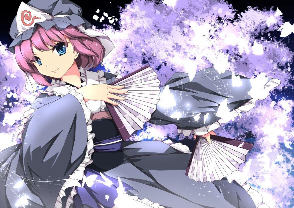 Konachan com - 239057 blue eyes fan hat japanese clothes kimono petals pink hair saigyouji yuyuko sheita short hair touhou wallpaper