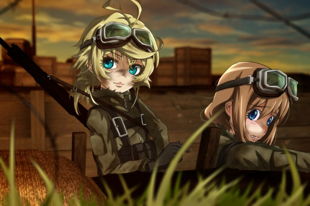 Konachan com - 239072 2girls aqua eyes blonde hair brown hair genya67 goggles grass military short hair tanya degurechaff uniform weapon youjo senki wallpaper
