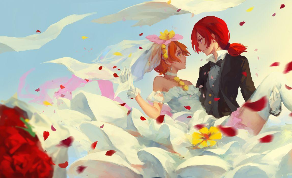 Konachan com - 239038 bamboo nima hoshizora rin love live! school idol project nishikino maki petals shoujo ai wedding wedding attire wallpaper