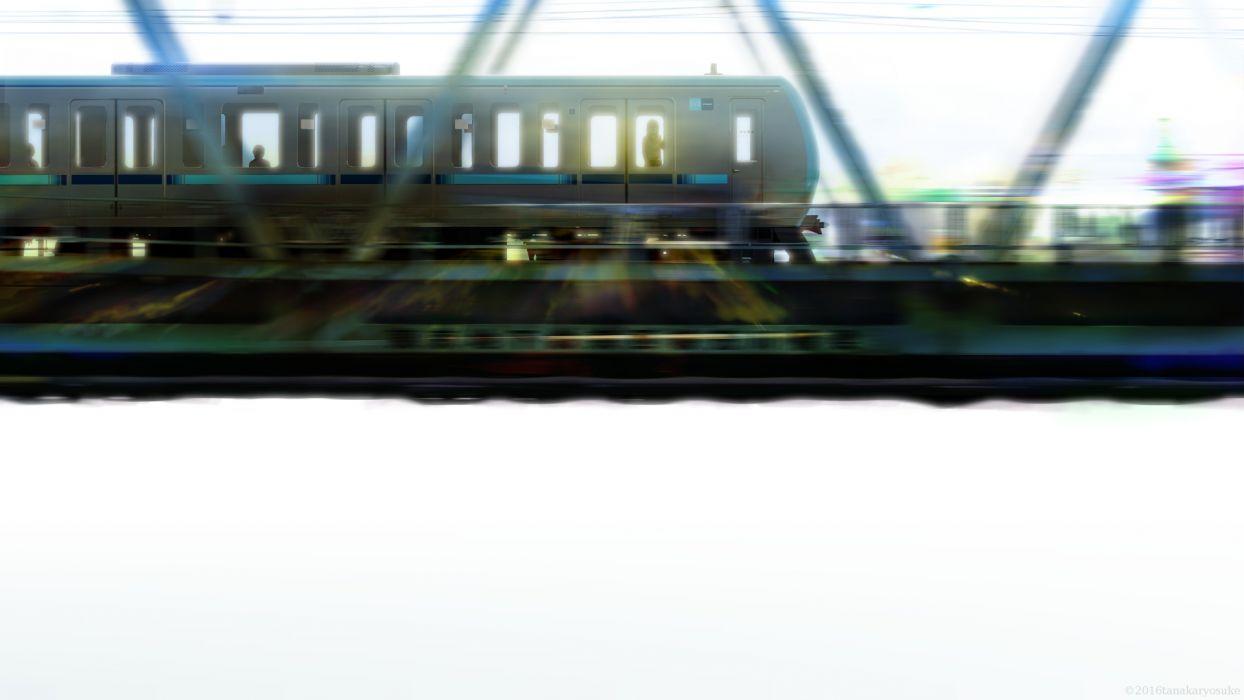 Konachan com - 239159 original silhouette tanaka ryosuke train watermark white wallpaper