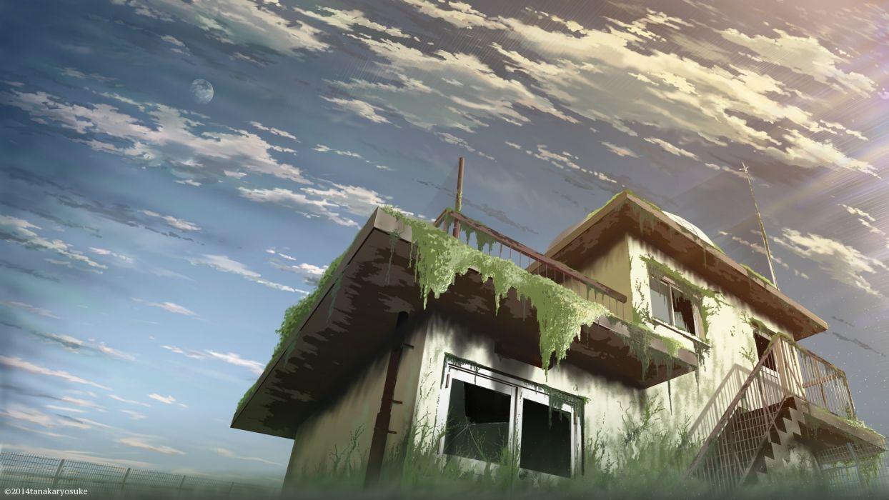 Konachan com - 239161 clouds moon nobody original scenic sky stairs tanaka ryosuke watermark wallpaper