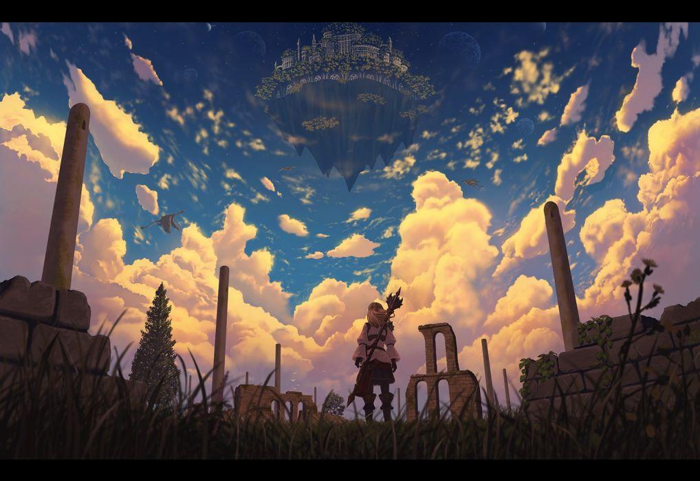 Konachan com - 239179 blonde hair clouds dragon grass long hair nauimusuka original ruins scenic sky weapon wallpaper