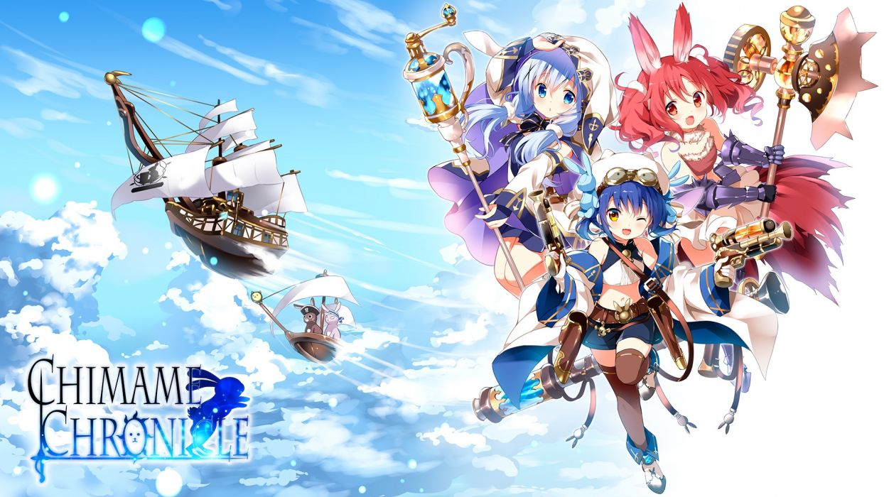 Konachan com - 239174 airship animal blush boots clouds dress fang gloves goggles gun hat logo loli navel rabbit red eyes red hair shorts skirt sky tail weapon wink wallpaper