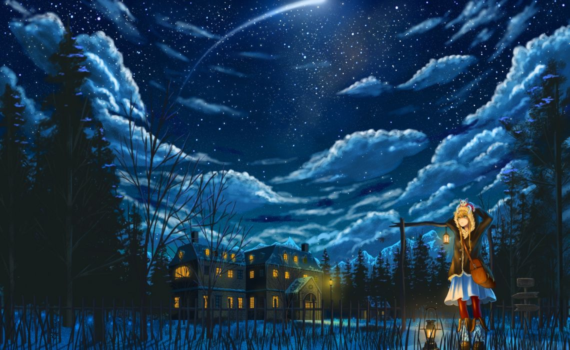 Konachan com - 239175 animal blonde hair boots building cat clouds forest nauimusuka night original pixiv fantasia skirt sky stars tree wallpaper