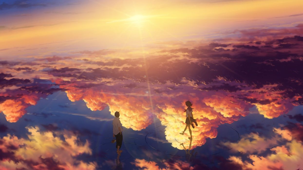 Konachan com - 239187 barefoot clouds goke shike (altamira05) male original reflection seifuku short hair skirt sky waifu2x wallpaper
