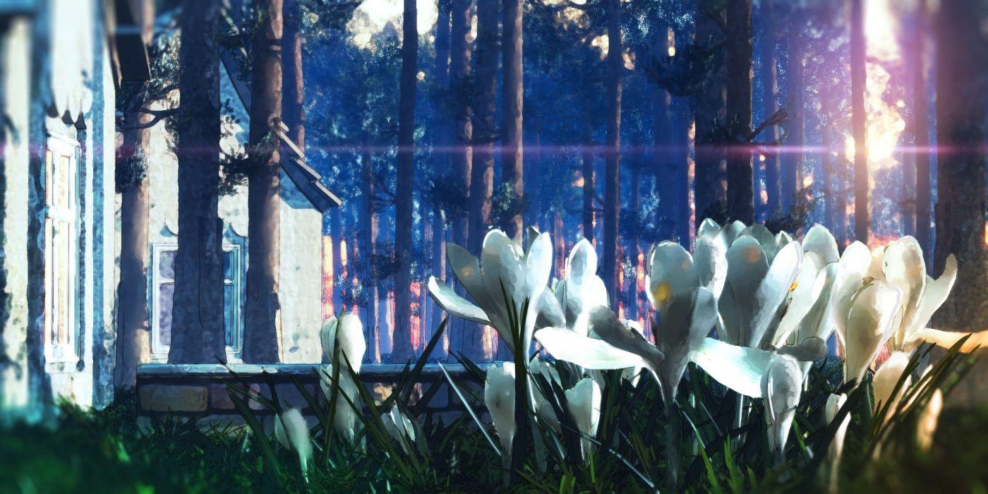 Konachan com - 237640 3d building flowers forest nobody original scenic tree waisshu (sougyokyuu) wallpaper