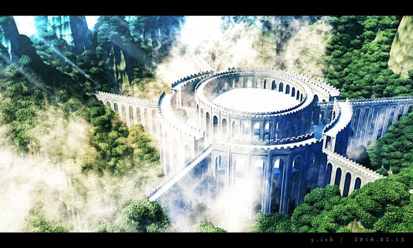 Konachan com - 237642 3d building clouds forest nobody original realistic scenic tree waisshu (sougyokyuu) wallpaper