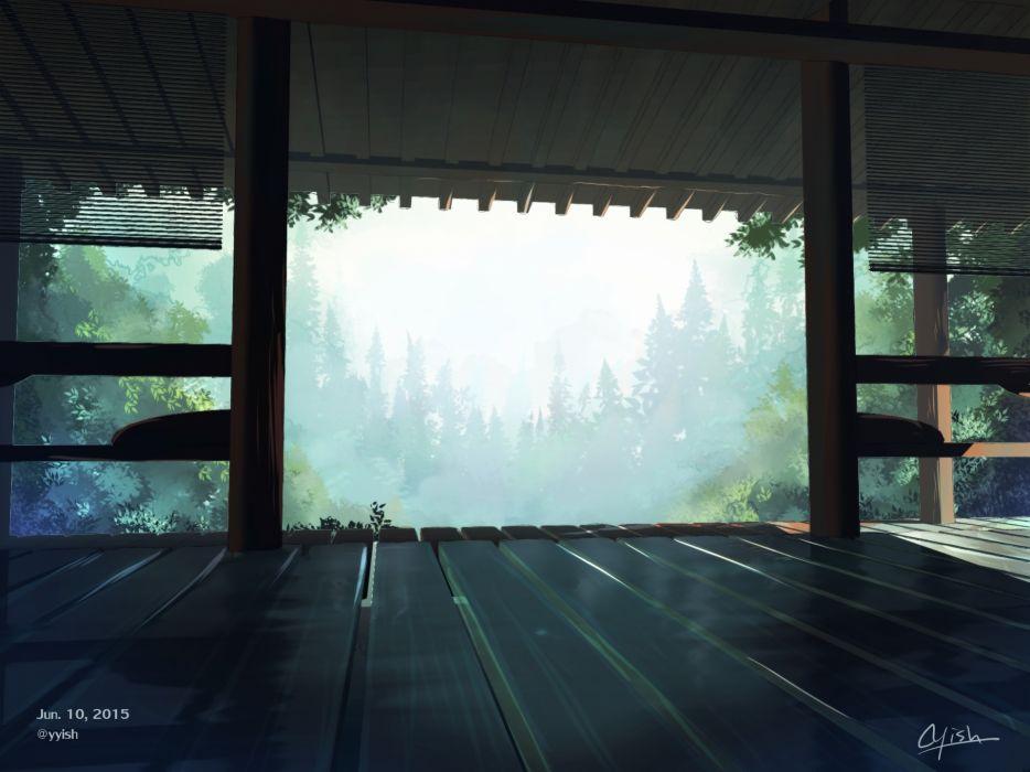 Konachan com - 237647 aliasing building forest nobody original scenic signed tree waisshu (sougyokyuu) wallpaper