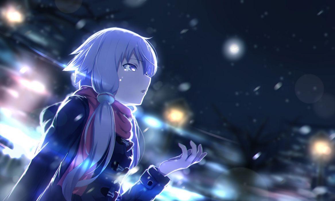 Konachan com - 237695 long hair night rerubixi scarf snow twintails vocaloid voiceroid yuzuki yukari wallpaper