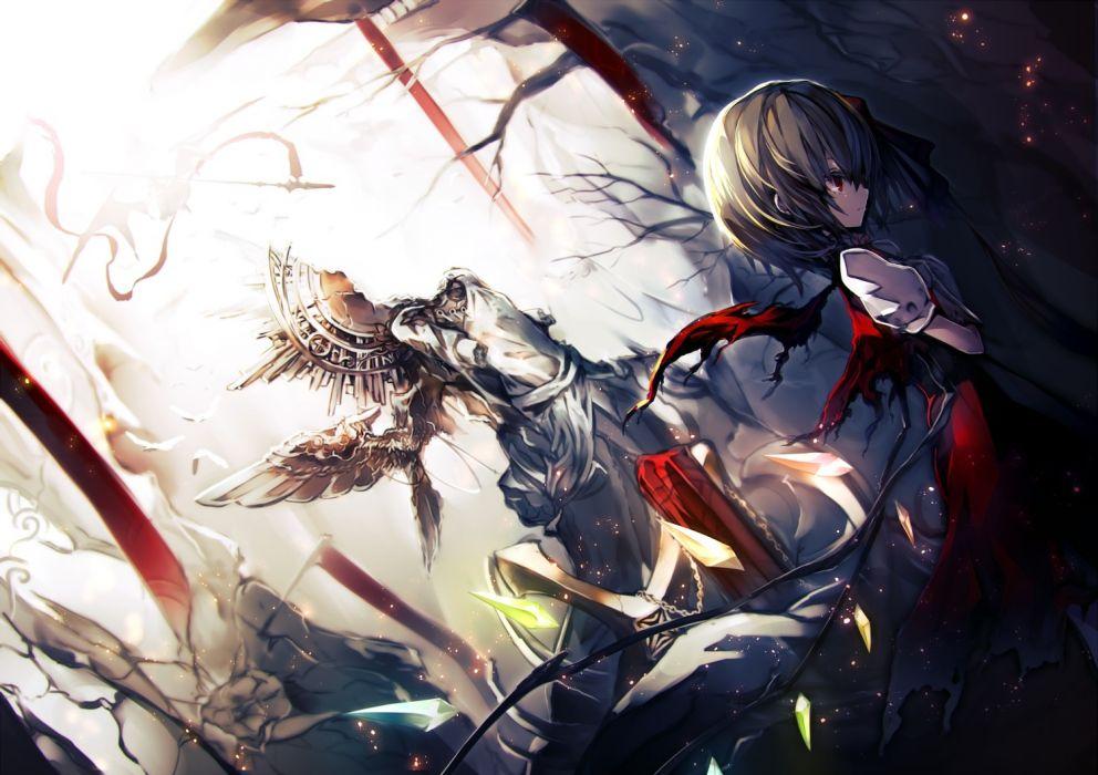 Konachan com - 237712 dress flandre scarlet kusakanmuri red eyes ruins short hair sword torn clothes touhou vampire weapon wings wallpaper