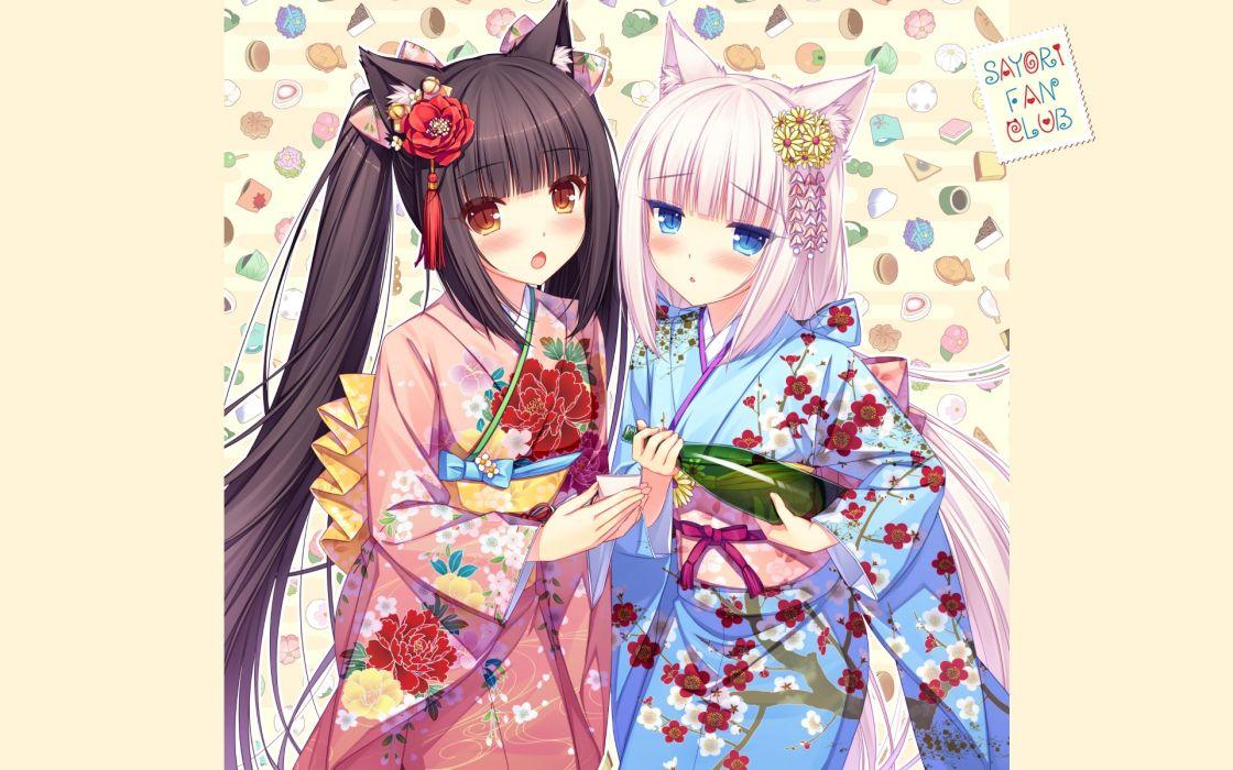 Konachan com - 237716 2girls aliasing bell black hair blue eyes blush bow brown eyes drink flowers headdress kimono long hair nekopara sake sayori twintails white hair wallpaper