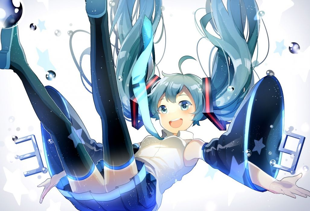 Konachan com - 237754 aqua eyes aqua hair breasts bubbles hatsune miku long hair skirt thighhighs tie twintails uiyuzu (uichoco) vocaloid wallpaper