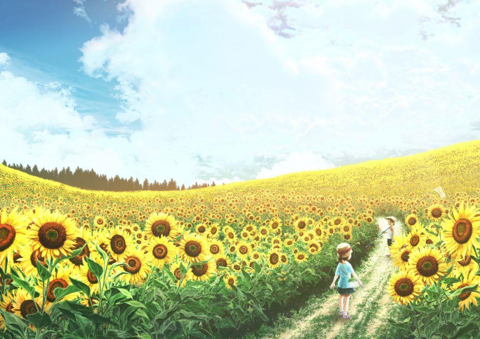 Konachan com - 237744 clouds flowers hat kun52 loli male original short hair shorts skirt sky summer sunflower tree wallpaper