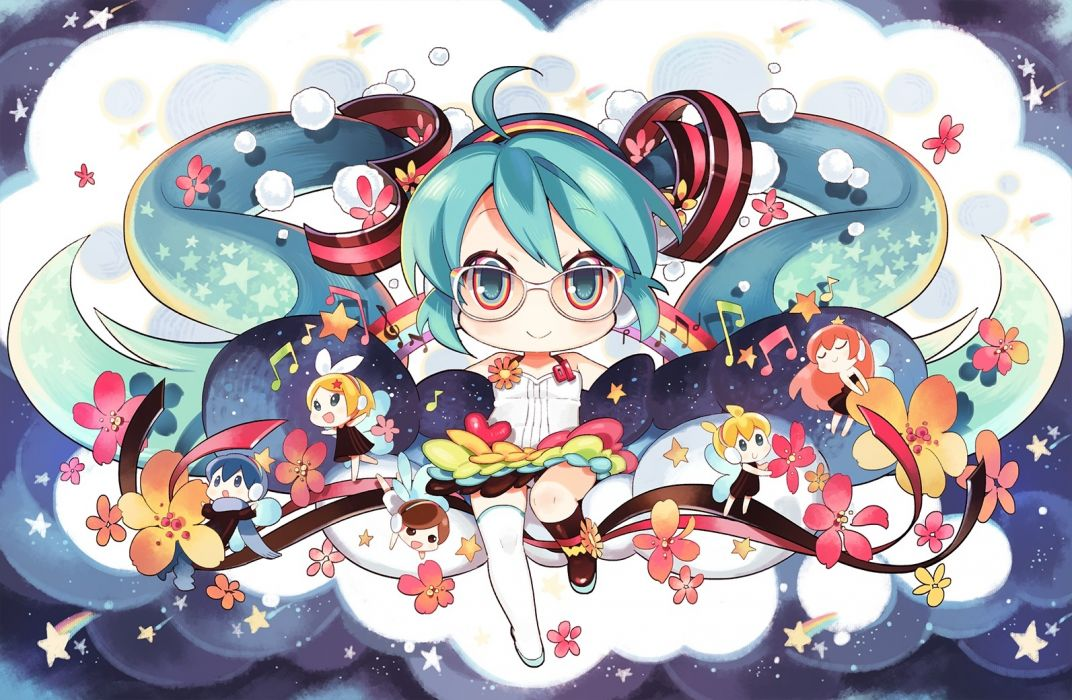 Konachan com - 237767 aqua eyes aqua hair chibi dress flowers glasses kaito kneehighs long hair male meiko neko sakana panties thighhighs twintails underwear vocaloid wallpaper