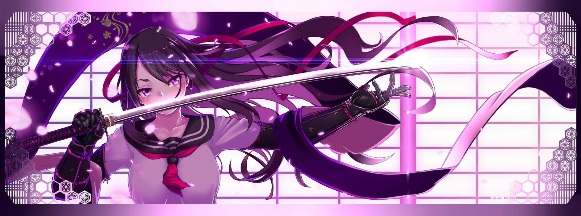 Konachan com - 237783 black hair dualscreen haiiro gundan katana long hair original petals purple eyes ribbons seifuku sword weapon wallpaper