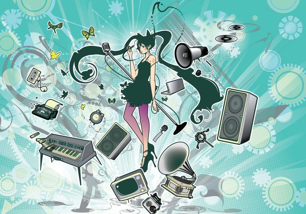 Konachan com - 237768 azuma shou butterfly computer dress green eyes green hair hatsune miku instrument long hair microphone piano twintails vocaloid wallpaper
