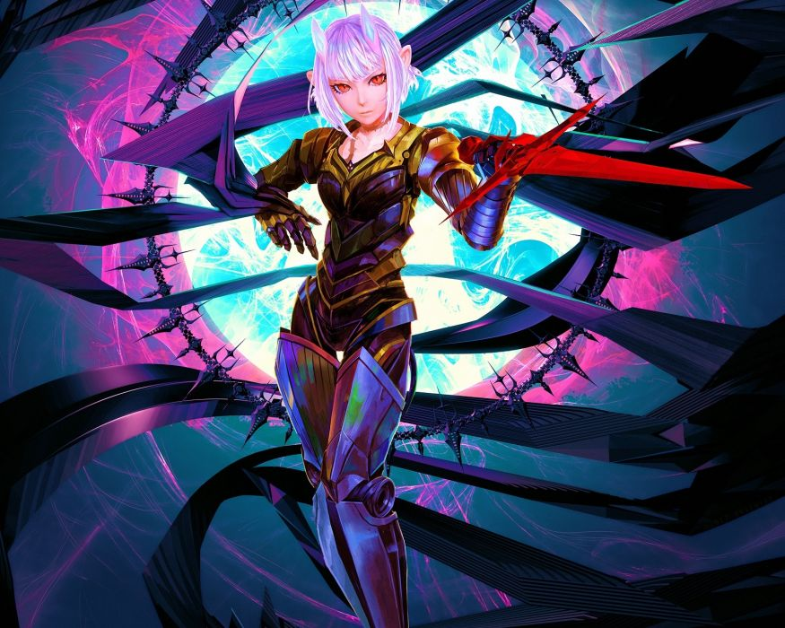 Konachan com - 237814 armor arsenixc boots cropped gloves horns original pink hair red eyes short hair sword weapon wallpaper