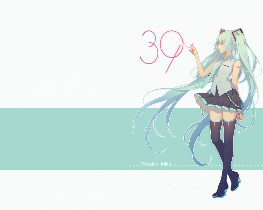 Konachan com - 237848 aqua hair hatsune miku long hair photoshop ribbons skirt thighhighs tidsean tie twintails vocaloid wallpaper