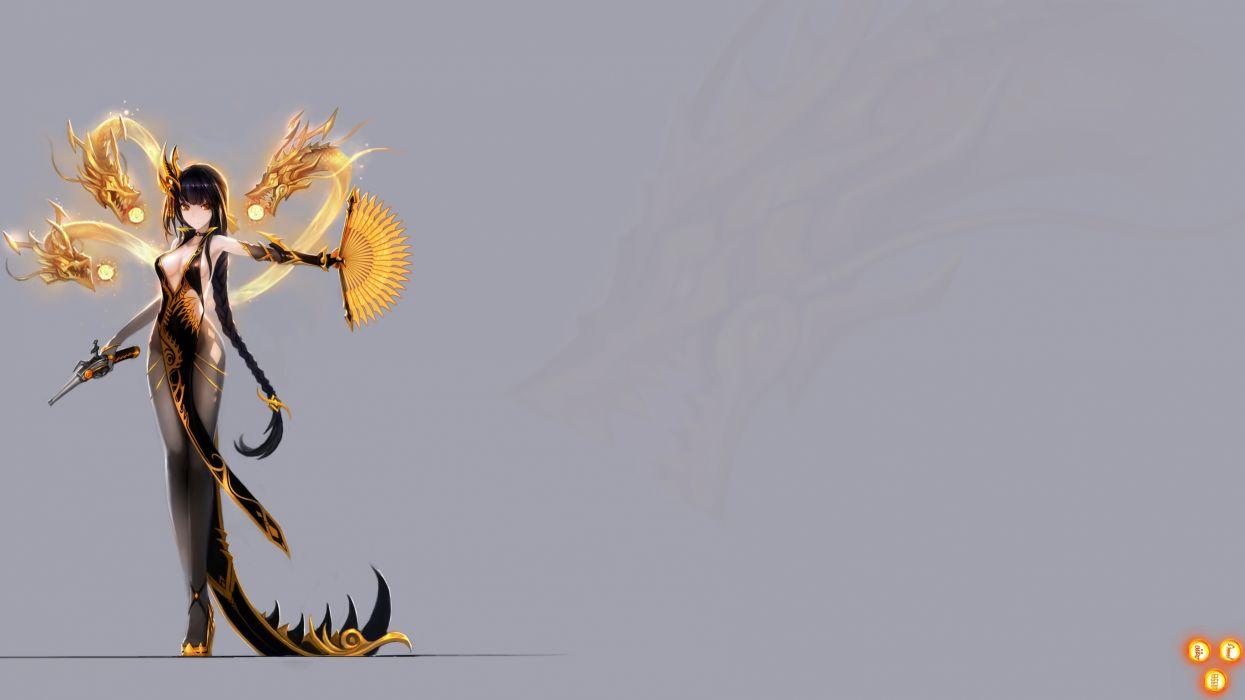 Konachan com - 237853 black hair breasts choker cleavage dragon elbow gloves gloves gun hanshu long hair moeoh ex pantyhose photoshop ponytail sideboob weapon zoom layer wallpaper