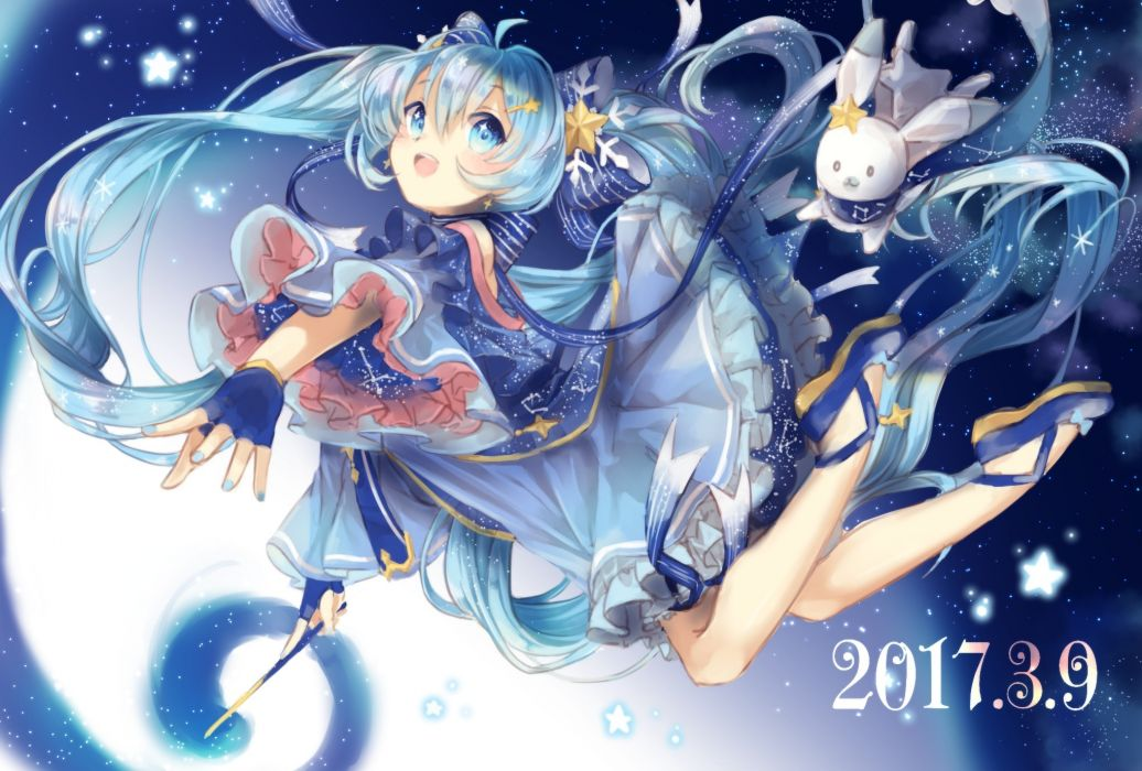 Konachan com - 237867 aqua eyes aqua hair bow dress gloves hatsune miku long hair scarf stars twintails vocaloid yuki miku yumeichigo alice wallpaper