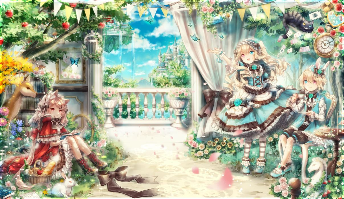 Konachan com - 237866 animal apple book bow building cake cat clouds crown dress drink flowers food fruit grass hat male mirror original petals rabbit rose sky tree water wallpaper