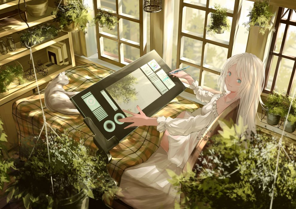 Konachan com - 237851 animal aqua eyes bed book cat computer dress leaves miya-ki (miya key) original summer dress white hair wallpaper